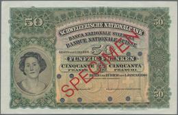 Switzerland / Schweiz: Schweizerische Nationalbank 50 Franken 1910 SPECIMEN, P.5s With Punch Hole Ca - Suisse