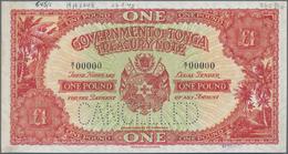 Tonga:  Government Of Tonga 1 Pound ND(1945) De La Rue Archive SPECIMEN, P.11as With Zero Serial Num - Tonga
