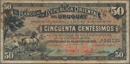 Uruguay: El Banco De La Republica Oriental Del Uruguay 50 Centesimos 1896, P.2 In About F Condition. - Uruguay