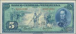 Venezuela: Banco Central De Venezuela 5 Bolivares 1966, P.49, Almost Perfect Condition With A Few Mi - Venezuela