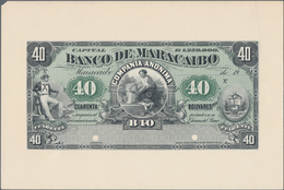 Venezuela: Banco De Maracaibo 40 Bolivares 19xx Front Proof, P.S212p, Glued On Cardboard And In UNC - Venezuela