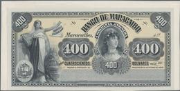 Venezuela: Banco De Maracaibo 400 Bolivares 19xx Front Proof, P.S222p, Glued On Cardboard And In UNC - Venezuela