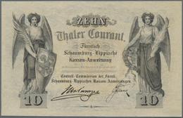 Deutschland - Altdeutsche Staaten: Schaumburg-Lippische Kassenanweisung 10 Thaler Courant 1857, PiRi - [ 1] …-1871 : Etats Allemands