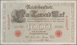 Deutschland - Deutsches Reich Bis 1945: 1000 Mark 1896 MUSTER, Ro.16P Mit KN 000000B Und Perforation - Non Classés