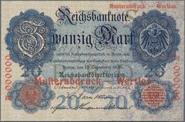 Deutschland - Deutsches Reich Bis 1945: 20 Mark 1909, Jeweils Einseitger Probedruck Der Vorder- Und - Non Classés