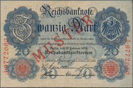 Deutschland - Deutsches Reich Bis 1945: 20 Mark 1914 Muster Aus Laufender Serie, Mit KN J9772660 Und - Non Classés