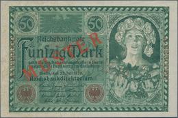 Deutschland - Deutsches Reich Bis 1945: 50 Mark 1920 MUSTER, Ro.66M Mit KN A0000000 Und Rotem Überdr - Non Classés