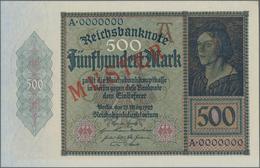 Deutschland - Deutsches Reich Bis 1945: 500 Mark 1922 MUSTER, Ro.70M Mit KN A0000000 Und Rotem Überd - Non Classés