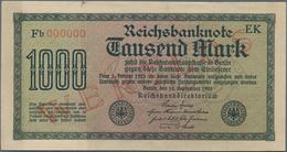 Deutschland - Deutsches Reich Bis 1945: 1000 Mark 1922 MUSTER Mit KN 000000, Fz. Fb Und Rotem Überdr - Non Classés