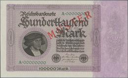 Deutschland - Deutsches Reich Bis 1945: 100.000 Mark 1923 MUSTER, Ro.82M, Mit KN A00000000 Und Rotem - Non Classés