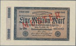 Deutschland - Deutsches Reich Bis 1945: 1 Million Mark 1923 Muster Aus Laufender Serie Mit Fz. DB, K - Non Classés