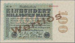 Deutschland - Deutsches Reich Bis 1945: 100 Millionen Mark 1923 MUSTER, Wz. Ringe, Fz. RL, Ro.106M M - Non Classés