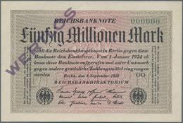 Deutschland - Deutsches Reich Bis 1945: 50 Millionen Mark 1923 MUSTER, Wz. Gitter Mit 8, Fz. OO, Grü - Non Classés