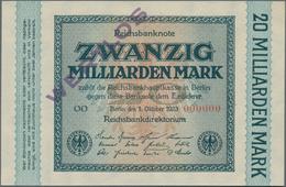 Deutschland - Deutsches Reich Bis 1945: 20 Milliarden Mark 1923 MUSTER, Ro.115M Mit Roter KN 000000, - Non Classés
