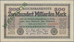 Deutschland - Deutsches Reich Bis 1945: 200 Milliarden Mark 1923 MUSTER, Ro.118M, Mit Roter KN 00000 - Non Classés