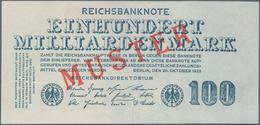 Deutschland - Deutsches Reich Bis 1945: 100 Milliarden Mark Muster Aus Laufender Serie, Ro.123M Mit - Non Classés