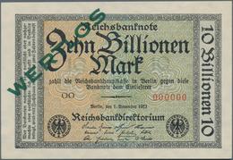 Deutschland - Deutsches Reich Bis 1945: 10 Billionen Mark 1923 MUSTER Mit KN 000000, Fz. OO Und Über - Non Classés
