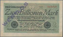 Deutschland - Deutsches Reich Bis 1945: 2 Billionen Mark 1923 MUSTER Mit Roter KN 000000, Fz. OO Und - Non Classés