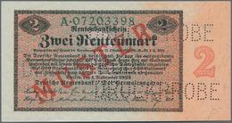 """Deutschland - Deutsches Reich Bis 1945: 2 Rentenmark 1923 Muster, Ro.155M, Roter Überdruck """"Muster"""", - Non Classés"""