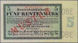 """Deutschland - Deutsches Reich Bis 1945: 5 Rentenmark 1923 Muster, Ro.156M, Roter Überdruck """"Muster"""", - Non Classés"""
