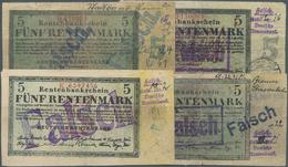 Deutschland - Deutsches Reich Bis 1945: 8 Zeitgenössische Fälschungen Der 5-Rentenmark-Note 1923, Si - Non Classés