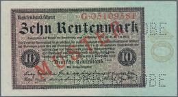 """Deutschland - Deutsches Reich Bis 1945: 10 Rentenmark 1923 Muster, Ro.157M, Roter Überdruck """"Muster"""" - Non Classés"""