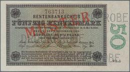 """Deutschland - Deutsches Reich Bis 1945: 50 Rentenmark 1923 Muster, Ro.158M, Roter Überdruck """"Muster"""" - Non Classés"""
