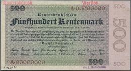 Deutschland - Deutsches Reich Bis 1945: 500 Rentenmark 1923 Archivmuster, Ro.160M, Mit KN A00000000, - Non Classés