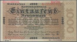 Deutschland - Deutsches Reich Bis 1945: 1000 Rentenmark 1923 Archivmuster, Ro.161M, Mit KN A00000000 - Non Classés