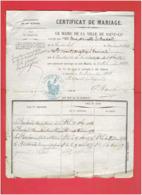 CERTIFICAT DE MARIAGE 1868 A SAINT LO MANCHE M. LE BASTARD ET MELLE. FREMOND - Documents Historiques