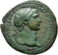 Traian (98 - 117): Sesterz, Mzst. Rom; 35,4 Mm, 21,6 G, RIC 534, Cohen 503, Schöne Grünliche Patina, - 3. Die Antoninische Dynastie (96 / 192)