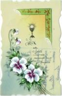 Carte Celluloïd. Peinte à La Main. Fleurs. Calice. Communion. - Cartoline