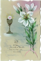 """Carte Celluloïd. Peinte à La Main. Fleurs. Calice. """"Que Dieu Vous Comble De Bonheur...."""" Communion. - Cartoline"""