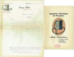 Publicité + Lettre. Aspirateur Mills, Bruxelles 1920. Lot De 2 Pièces. - Belgien