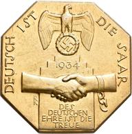 Medaillen Deutschland: Drittes Reich 1933-1945: Oktonale Silber-Plakette 1934 Vergoldet, Einseitig ( - Zonder Classificatie