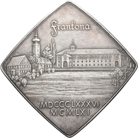 """Medaillen Deutschland: Neuendettelsau: Feinsilberplakette 1961, Signiert """"R"""", Ansicht Der Klosteranl - Zonder Classificatie"""