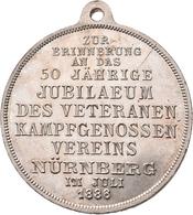 Medaillen Deutschland: Nürnberg: Bronzemedaille 1886, Versilbert, Von Lauer, Auf Die 50-Jahrfeier De - Zonder Classificatie