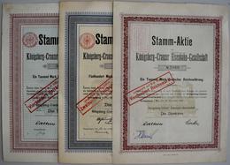 Alte Aktien / Wertpapiere: DEUTSCHLAND, Königsberg, Preußen. Lot 3 Aktien: Königsberg-Cranzer Eisenb - Hist. Wertpapiere - Nonvaleurs