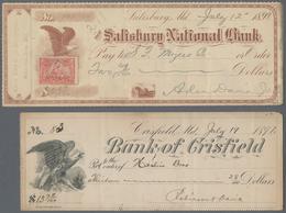 Alte Aktien / Wertpapiere: SCHECK: USA, Lot 54 Scheck, Der Älteste Ist Von1899. Meist Verschiedene, - Hist. Wertpapiere - Nonvaleurs