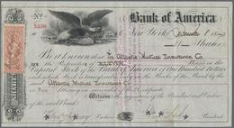 Alte Aktien / Wertpapiere: USA, New York. Bank Of America Aktie Nr. 5536 Vom 08.12.1870 über 11 Stüc - Hist. Wertpapiere - Nonvaleurs