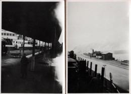 2 Photos Originales Guerre 1939-45 Convoi Ferroviaire Traversant Le Danemark à Nyborg - Gare Maritime & Train Allemand - Oorlog, Militair