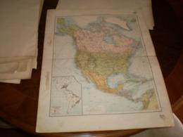 Ubersichtskarte Von Nordamerika Volks Und Familien Atlas A Shobel Leipzig 1901 Big Map - Cartes Géographiques
