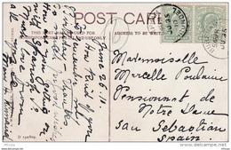 L4O010 GB 1910  Post Card  Paire 1/2p Burrham Pour San Sebastian Espagne 25 06 1910 - Storia Postale