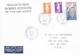 France 1994 BPM 658 Mostar Genie Ex-Yugoslavia War UNPROFOR Peacekeeping Military Cover To APO AE 09821 Turkey - Militaria