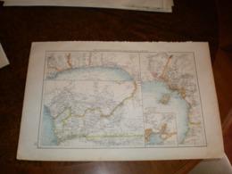 Westafrikanische Kolonialkarten Volks Und Familien Atlas A Shobel Leipzig 1901 Big Map - Cartes Géographiques