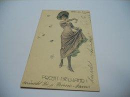 THEME FEMME CARTE COULEUR ANCIENNE  DE 1903  STROEFER N°339  N°12 FEMME AVEC CHAPEAU QUI DANSE   CHAMPIGNON DESSIN - Corrida