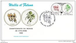 L4P086 WALLIS ET FUTUNA 1989 Cyclisme FDC Championnats Du Monde De Cyclisme  10f Mata-Utu 14 09 1989/envel.  Illus. - Cycling
