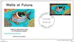L4P125 WALLIS ET FUTUNA 1992 Poissons FDC Chaetodon  Ephippium 21f Mata-Utu 18 05 1992/envel.  Illus. - Fishes