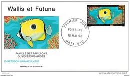 L4P126 WALLIS ET FUTUNA 1992 Poissons FDC Chaetodon Unimaculatus 26f Mata-Utu 18 05 1992/envel.  Illus. - Fishes