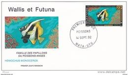 L4P130 WALLIS ET FUTUNA 1992 Poissons FDC Heniochus Monoceros 23f Mata-Utu 14 09 1992/envel.  Illus. - Fishes